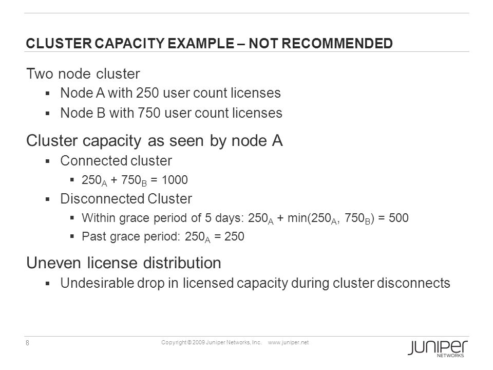CLUSTER CAPACITY EXAMPLE – NOT RECOMMENDED