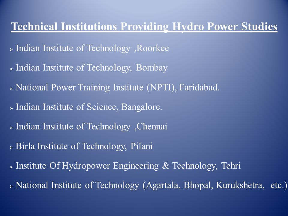 Technical Institutions Providing Hydro Power Studies