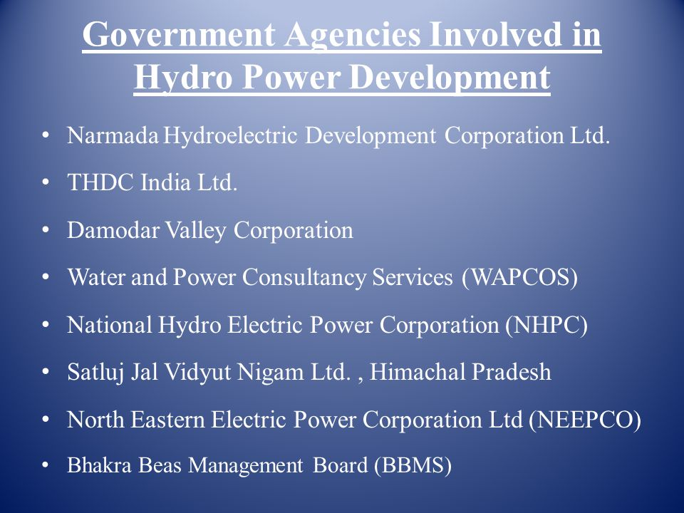 Government Agencies Involved in Hydro Power Development