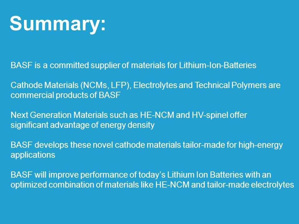 Summary: BASF is a committed supplier of materials for Lithium-Ion-Batteries.