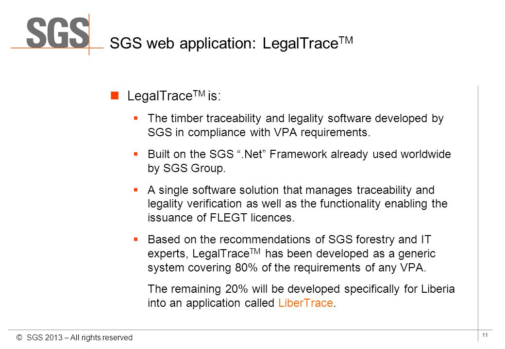 SGS web application: LegalTraceTM