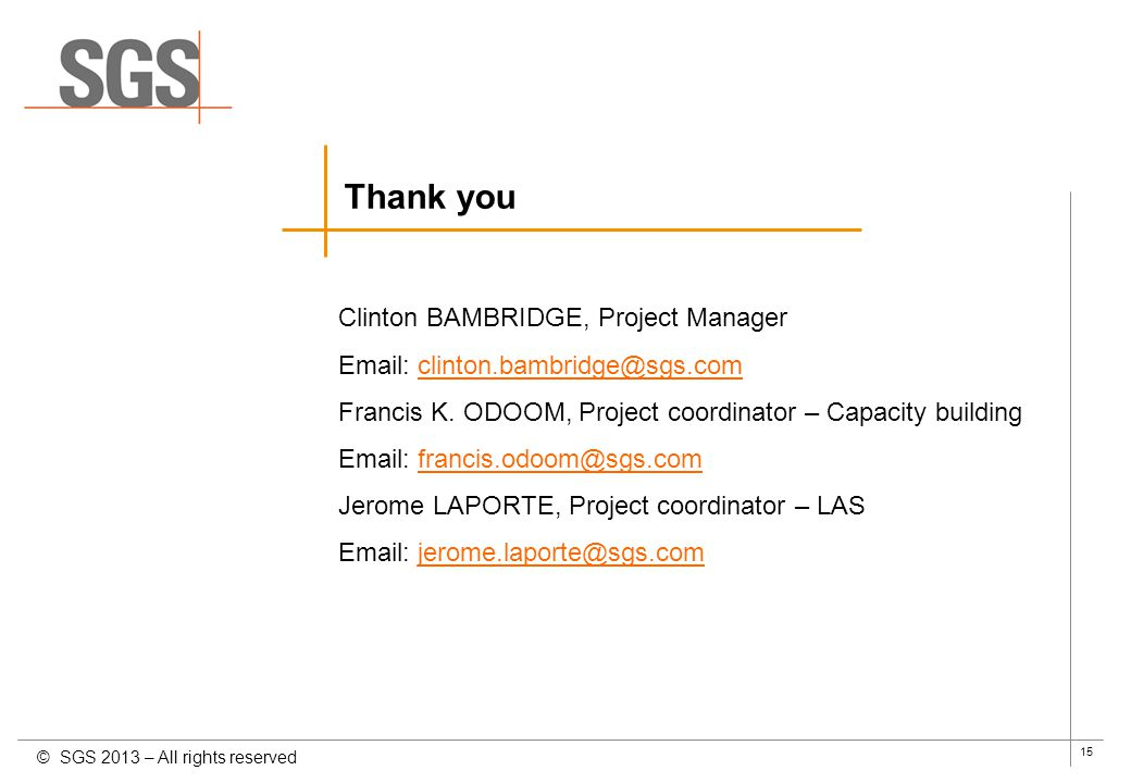 Thank you Clinton BAMBRIDGE, Project Manager