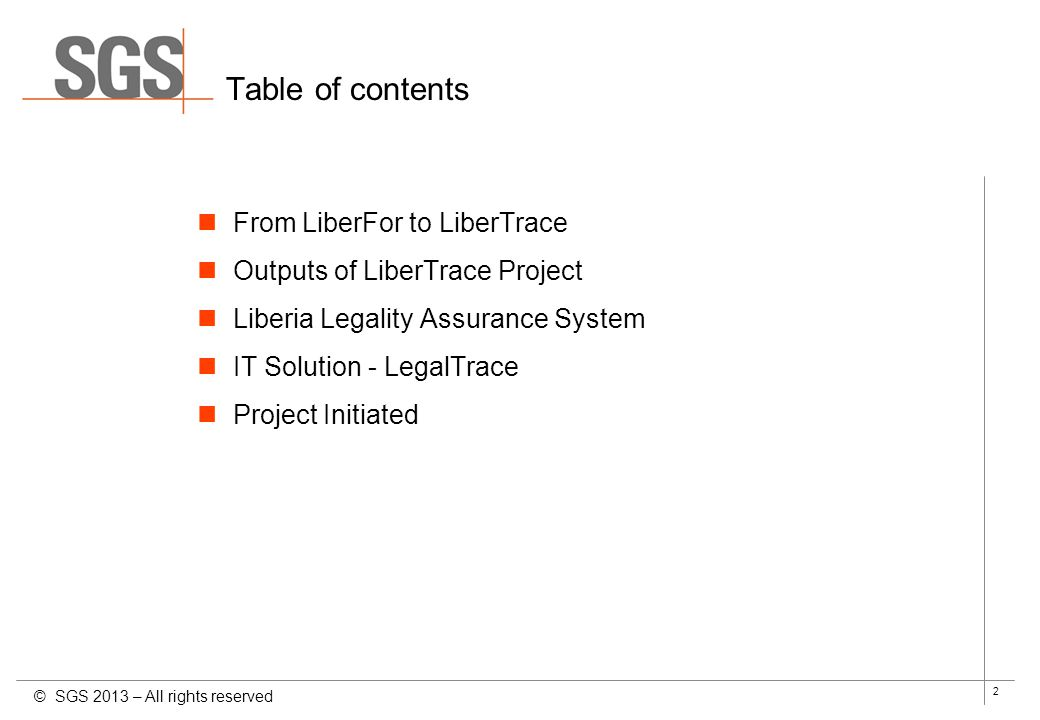 Table of contents From LiberFor to LiberTrace