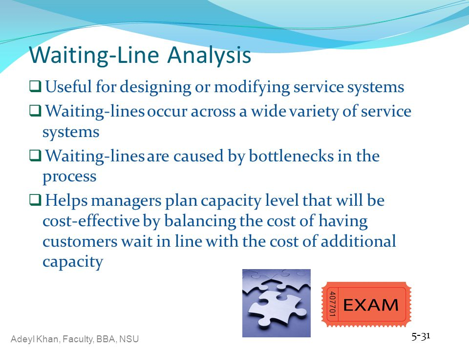 waiting line analysis Through the waiting line system analysis, the operating characteristics like the average number of customers who wait in line and the average period that a.