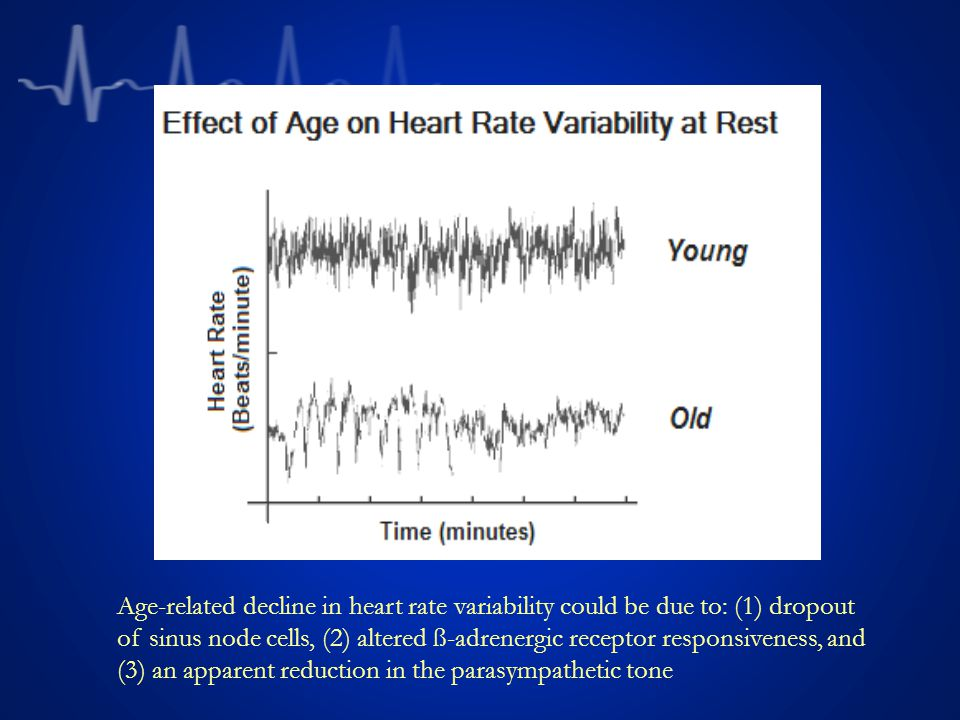 Age-related decline in heart rate variability could be due to: (1) dropout of sinus node cells, (2) altered ß-adrenergic receptor responsiveness, and (3) an apparent reduction in the parasympathetic tone