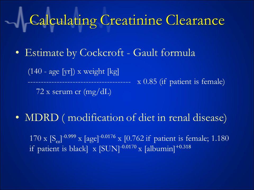 Calculating Creatinine Clearance