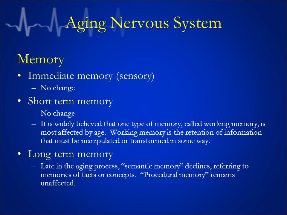 Aging Nervous System Memory Immediate memory (sensory)