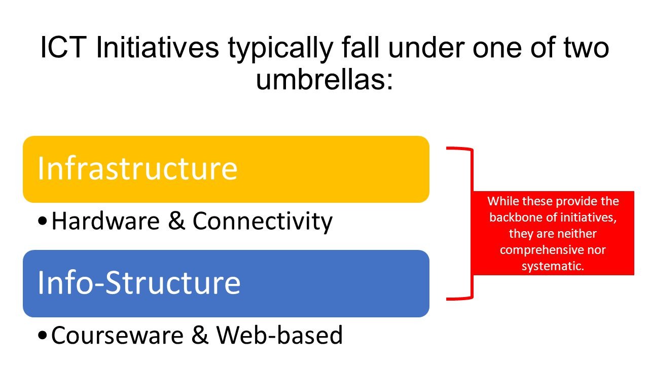 ICT Initiatives typically fall under one of two umbrellas: