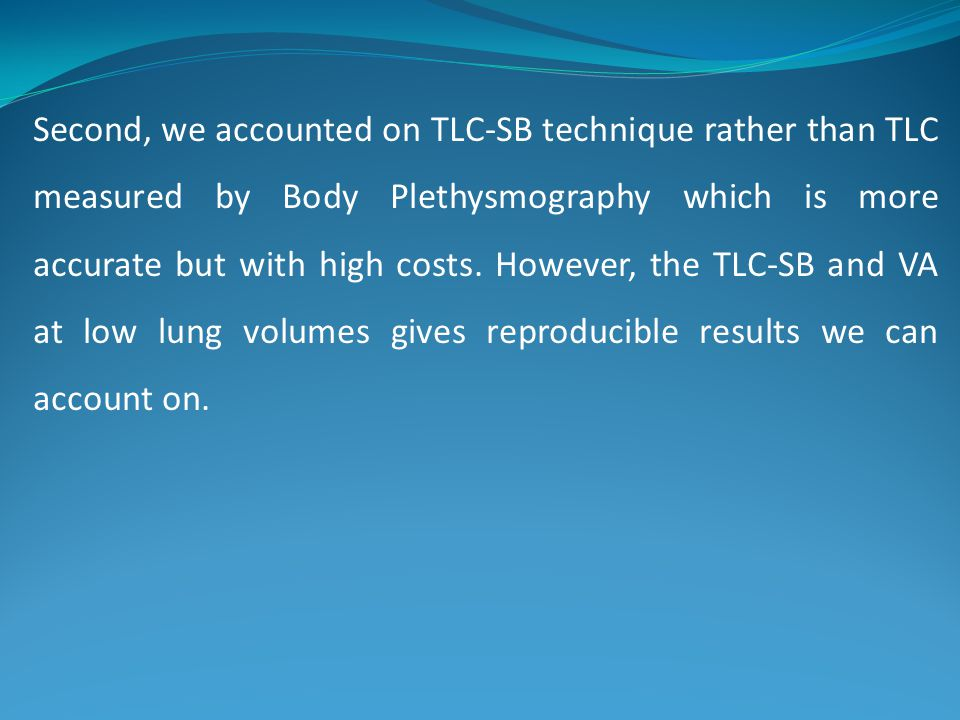 Second, we accounted on TLC-SB technique rather than TLC measured by Body Plethysmography which is more accurate but with high costs.