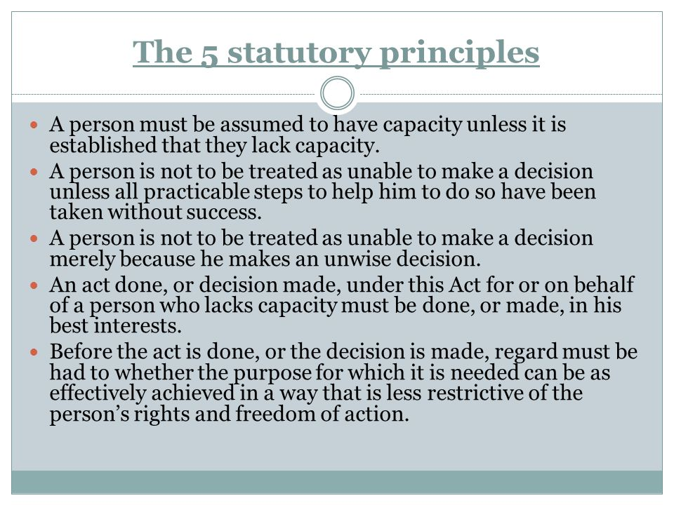 The 5 statutory principles