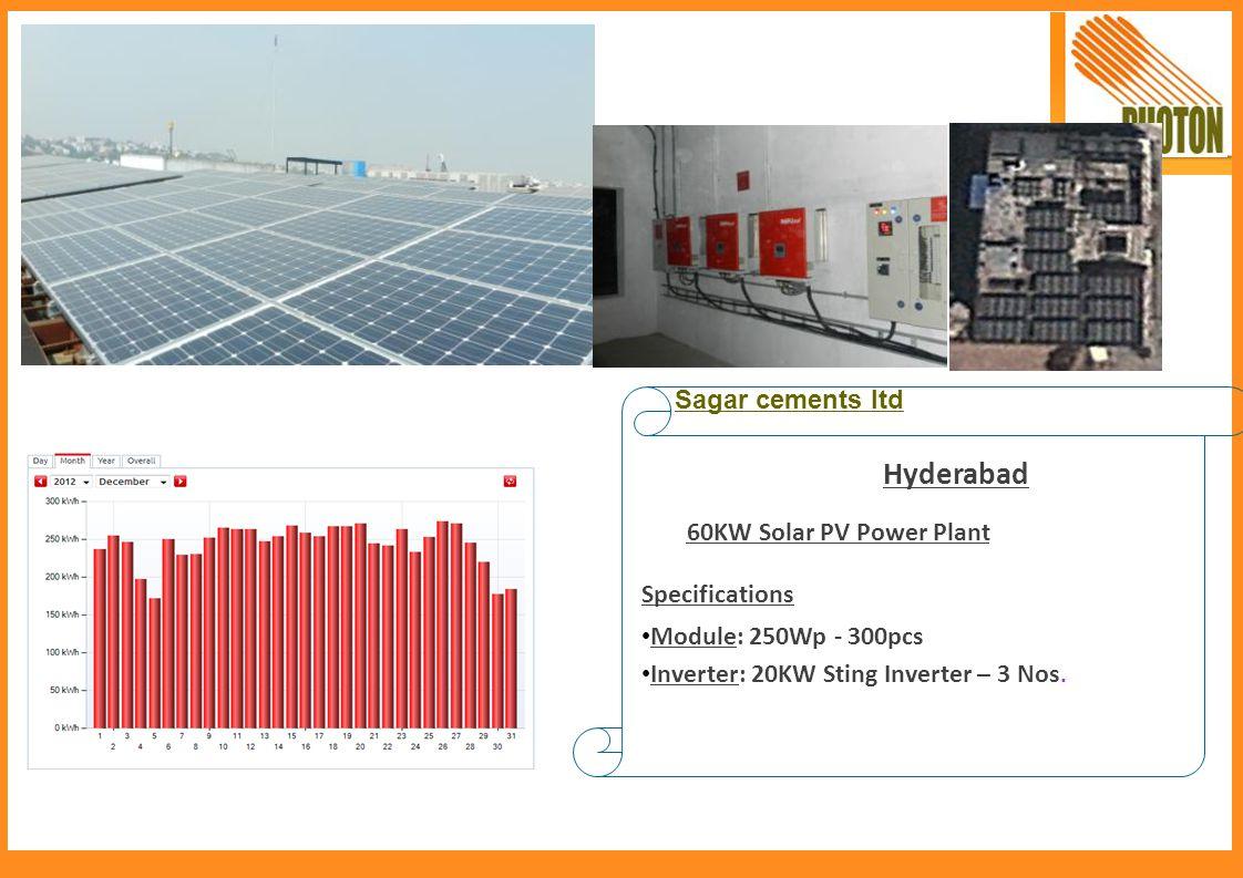 Hyderabad Sagar cements ltd 60KW Solar PV Power Plant Specifications