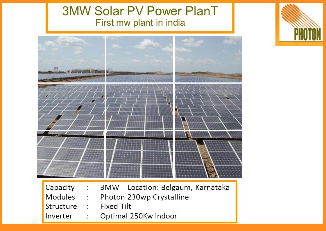 3MW Solar PV Power PlanT First mw plant in india