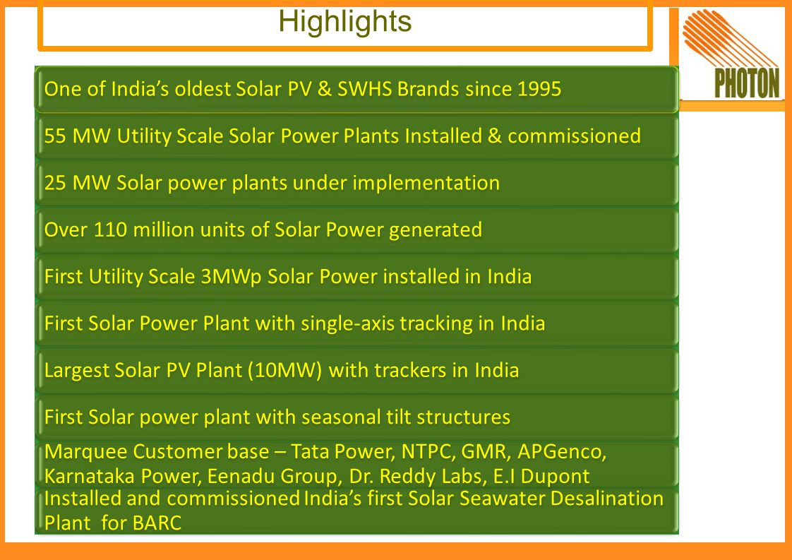 Highlights One of India's oldest Solar PV & SWHS Brands since 1995