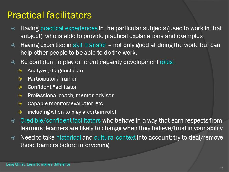 Practical facilitators