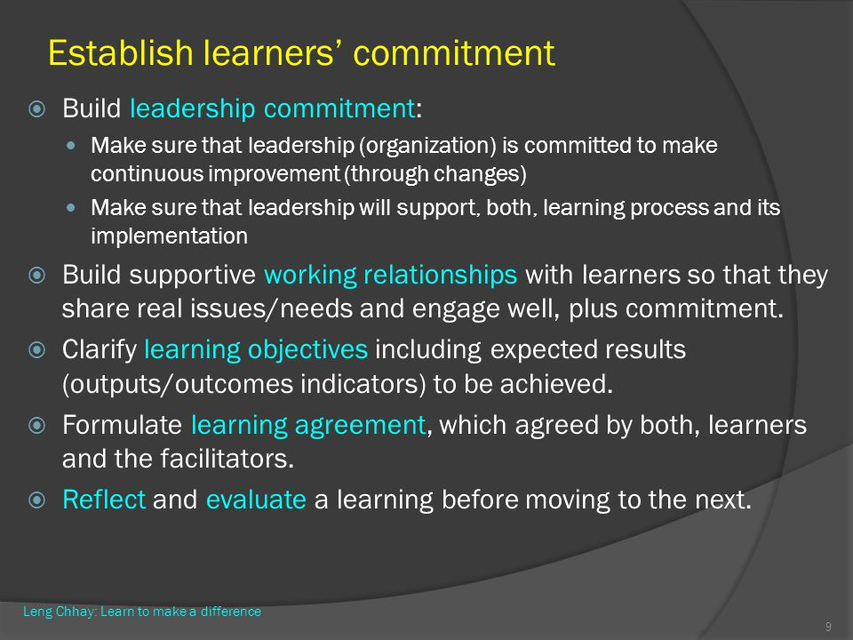 Establish learners' commitment