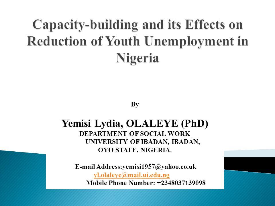 Yemisi Lydia, OLALEYE (PhD) UNIVERSITY OF IBADAN, IBADAN,