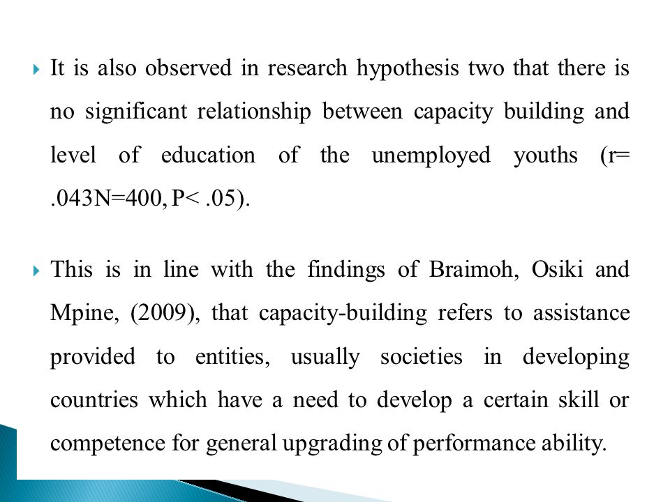 It is also observed in research hypothesis two that there is no significant relationship between capacity building and level of education of the unemployed youths (r= .043N=400, P< .05).