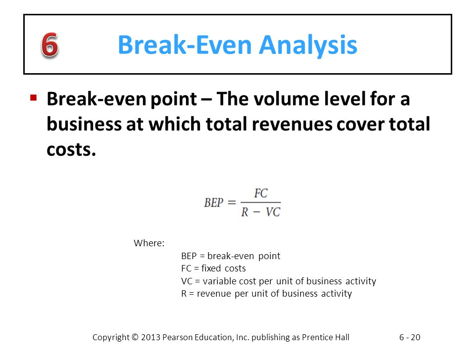 Break-Even Analysis Break-even point – The volume level for a business at which total revenues cover total costs.