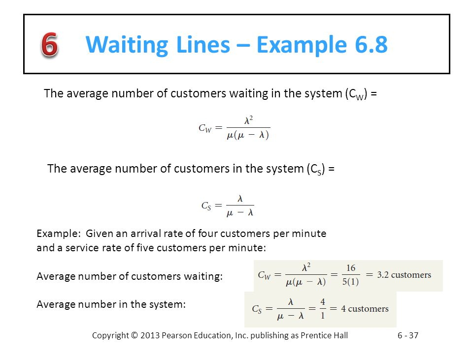 Waiting Lines – Example 6.8