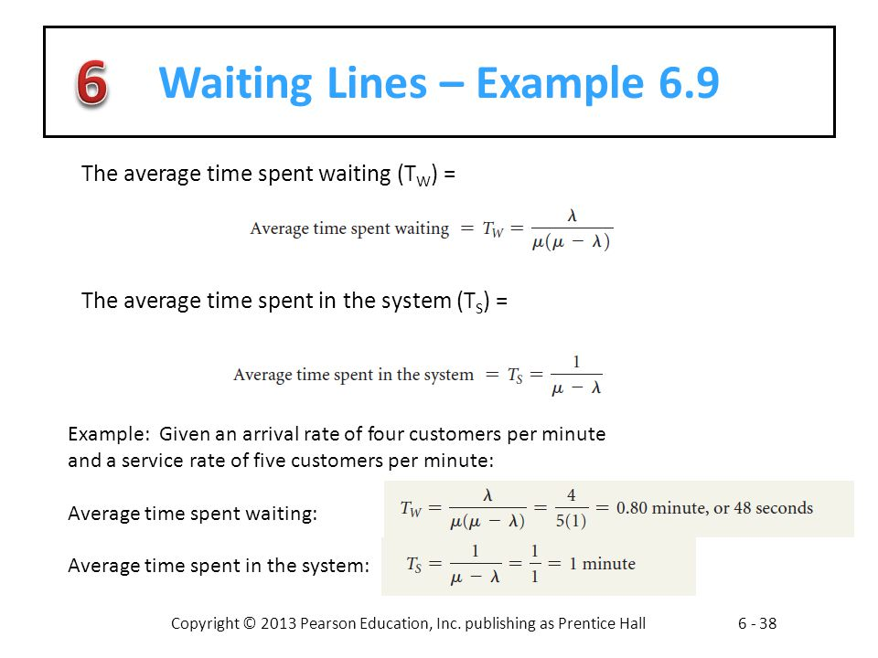 Waiting Lines – Example 6.9