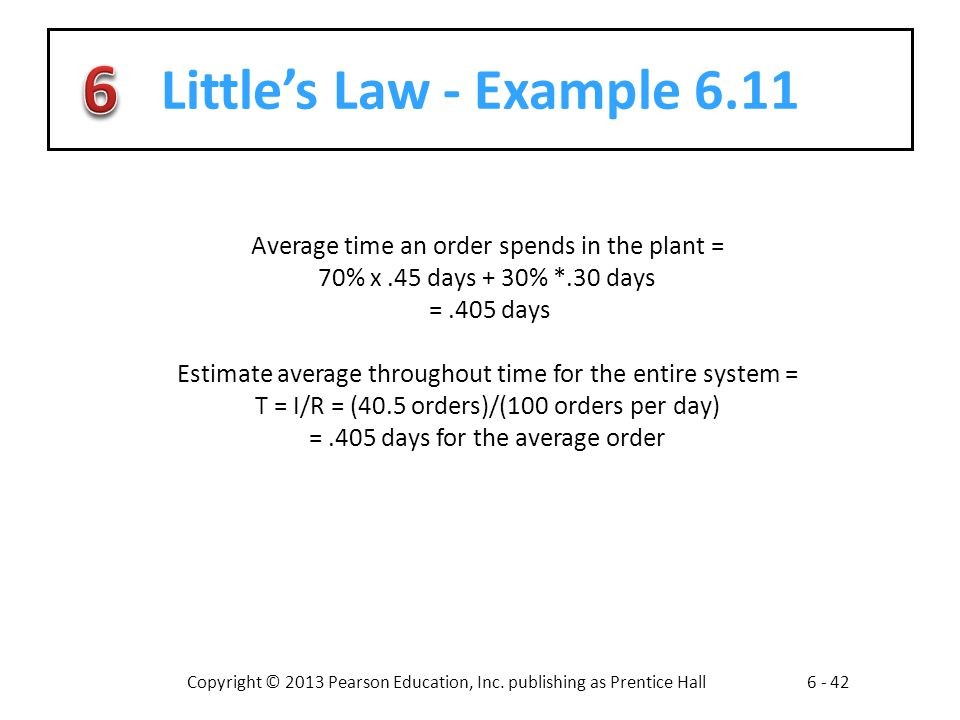 Little's Law - Example 6.11 Average time an order spends in the plant = 70% x .45 days + 30% *.30 days.