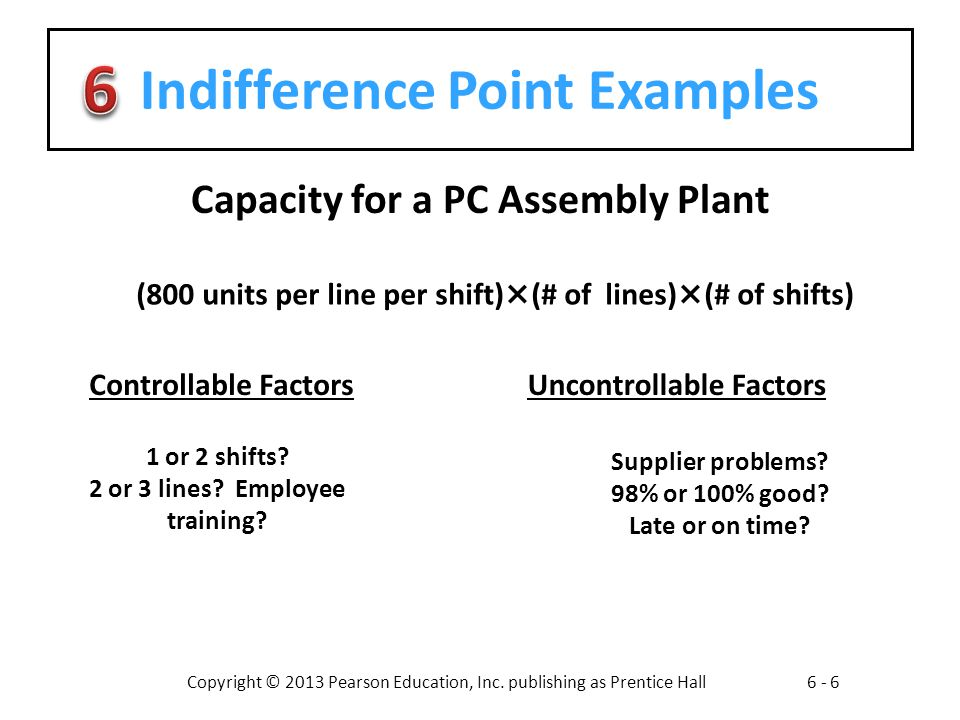 Indifference Point Examples