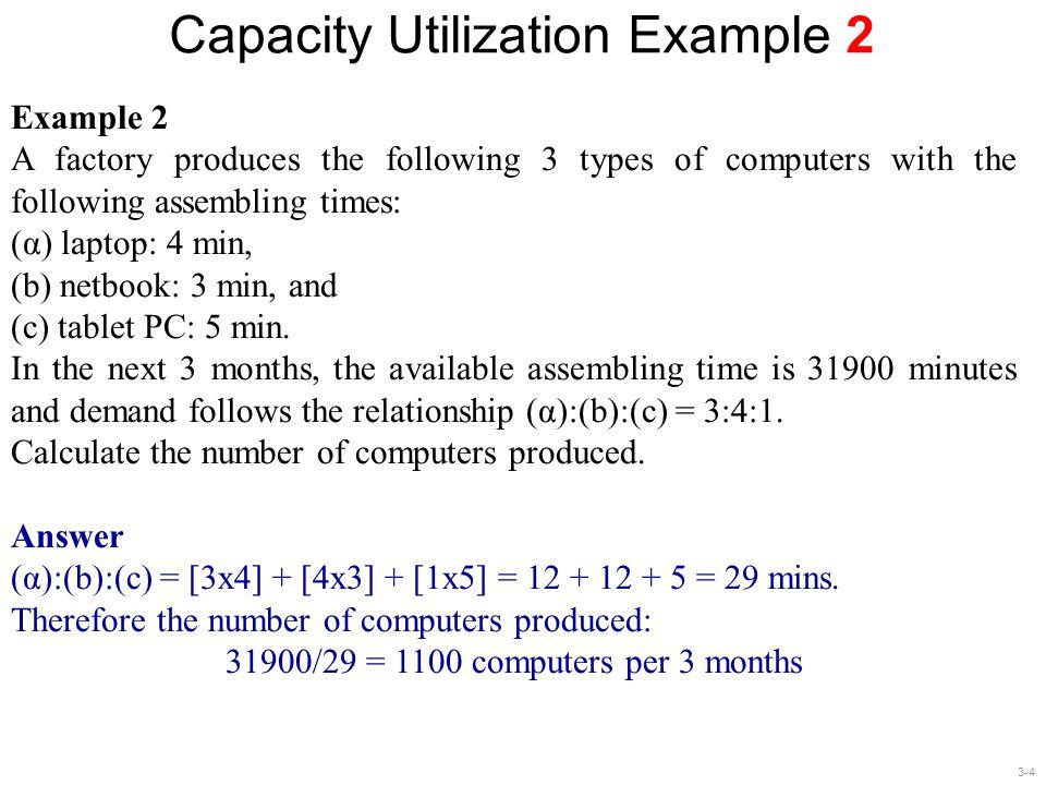 Capacity Utilization Example 2