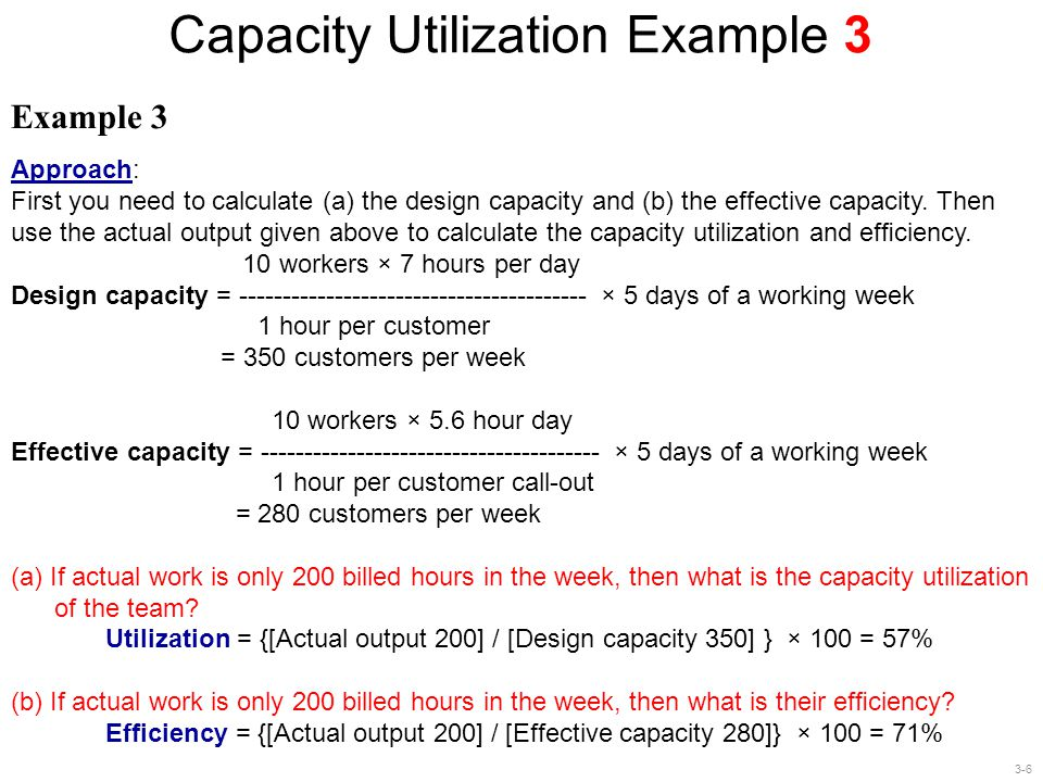 Capacity Utilization Example 3
