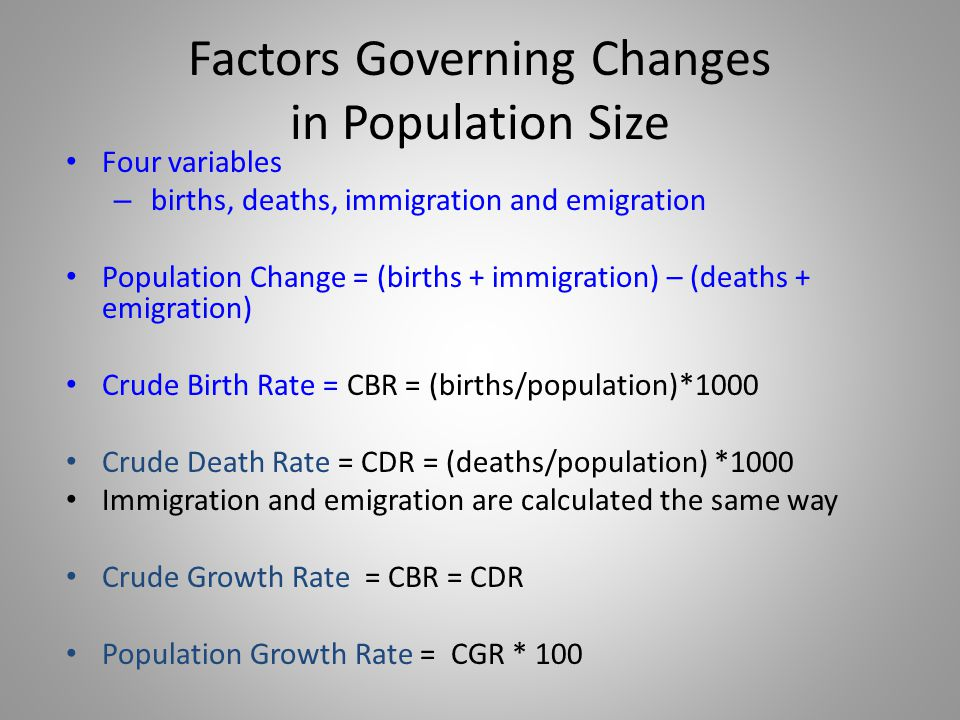 Factors Governing Changes in Population Size
