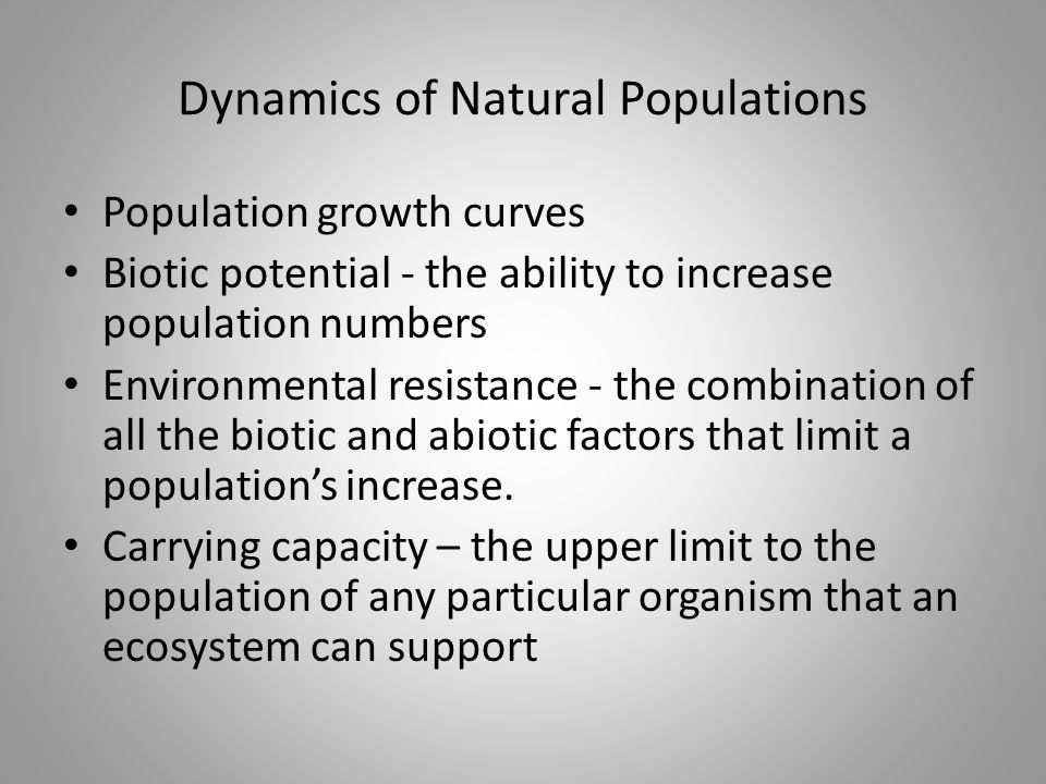 Dynamics of Natural Populations