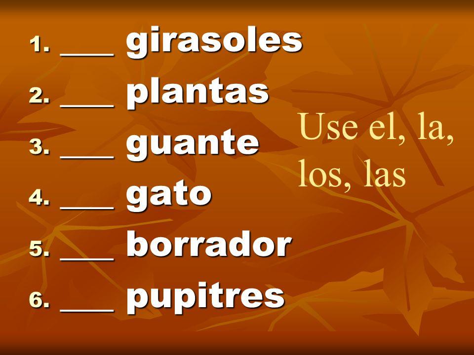 Use el, la, los, las ___ girasoles ___ plantas ___ guante ___ gato