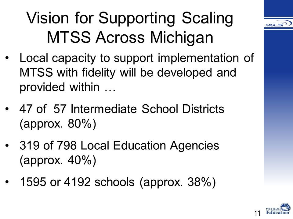 Vision for Supporting Scaling MTSS Across Michigan