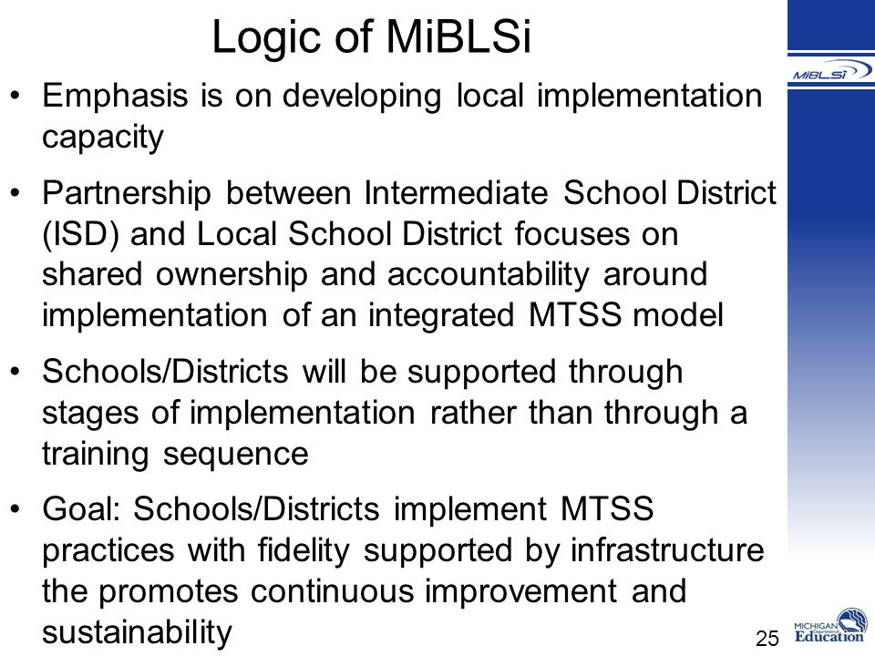 Logic of MiBLSi Emphasis is on developing local implementation capacity.