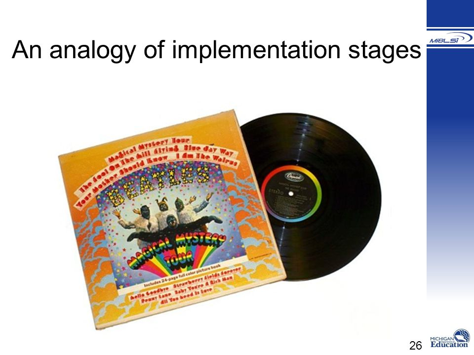 An analogy of implementation stages