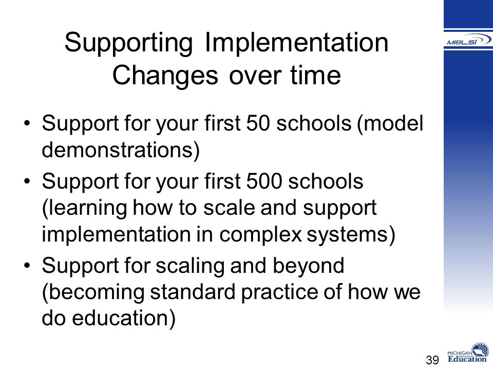 Supporting Implementation Changes over time