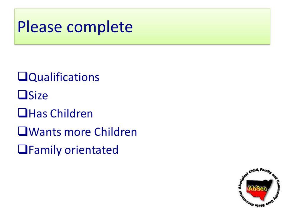 Please complete Qualifications Size Has Children Wants more Children