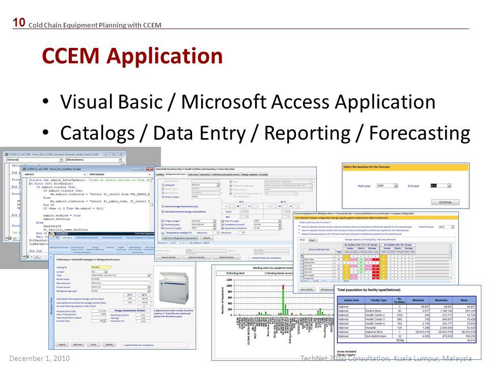 CCEM Application Visual Basic / Microsoft Access Application