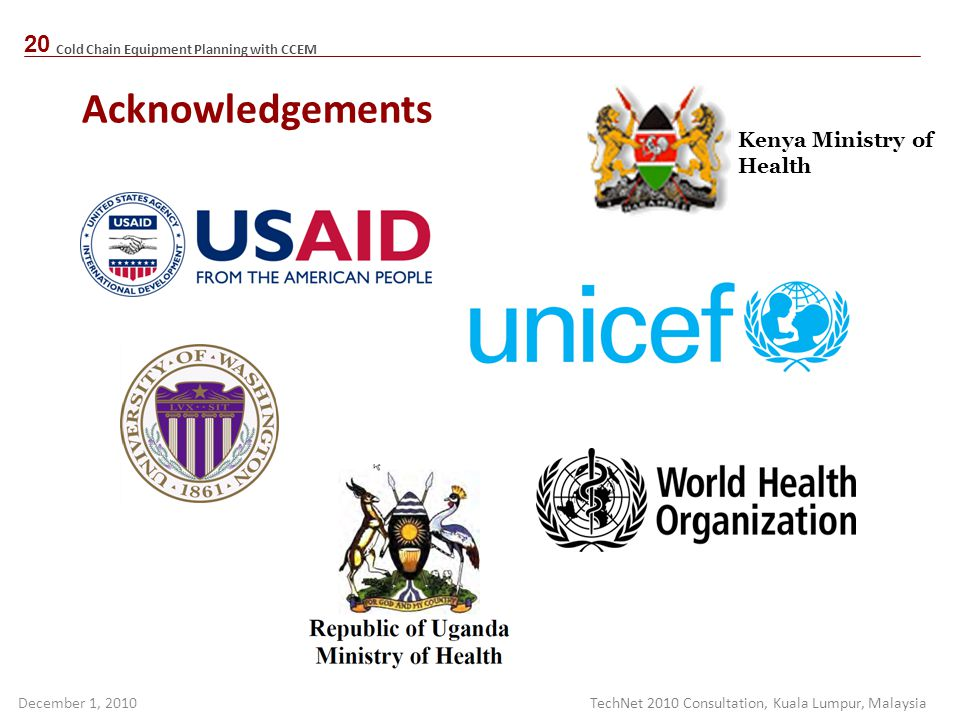 Acknowledgements Kenya Ministry of Health
