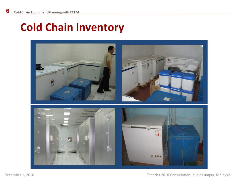 Cold Chain Inventory TechNet 2010 Consultation, Kuala Lumpur, Malaysia