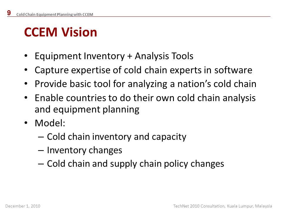 CCEM Vision Equipment Inventory + Analysis Tools
