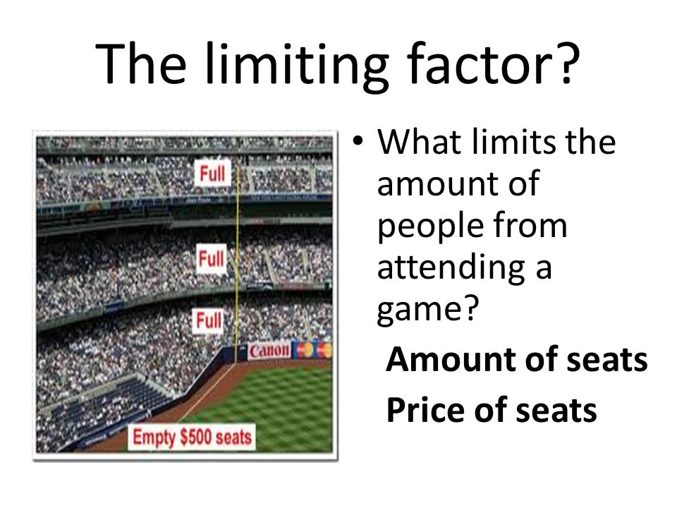 The limiting factor. What limits the amount of people from attending a game.