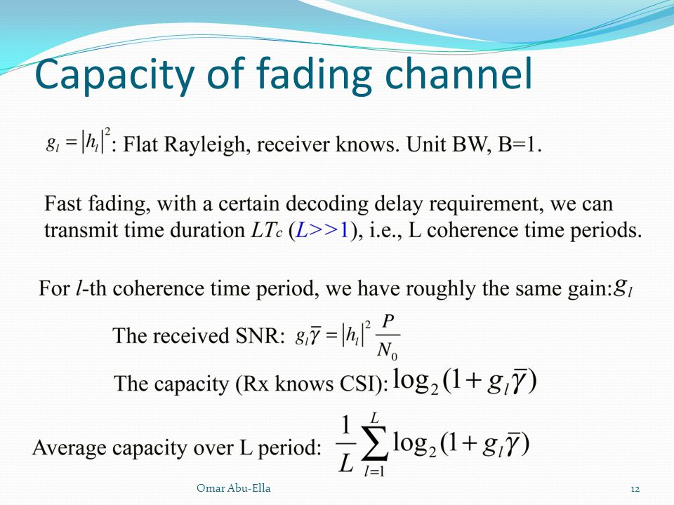Capacity of fading channel