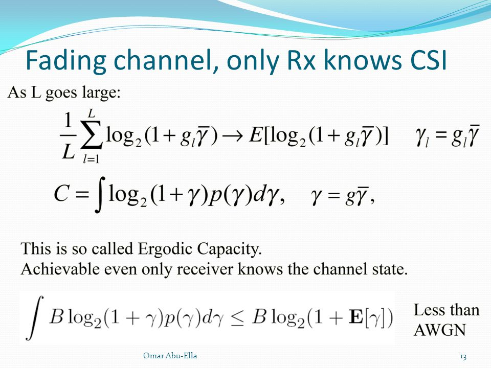 Fading channel, only Rx knows CSI
