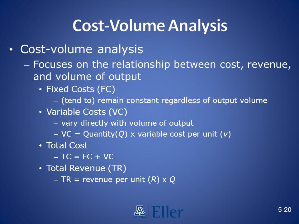 Cost-Volume Analysis Cost-volume analysis