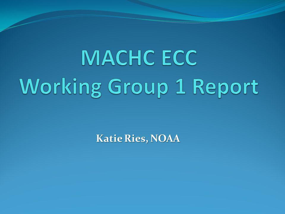 MACHC ECC Working Group 1 Report