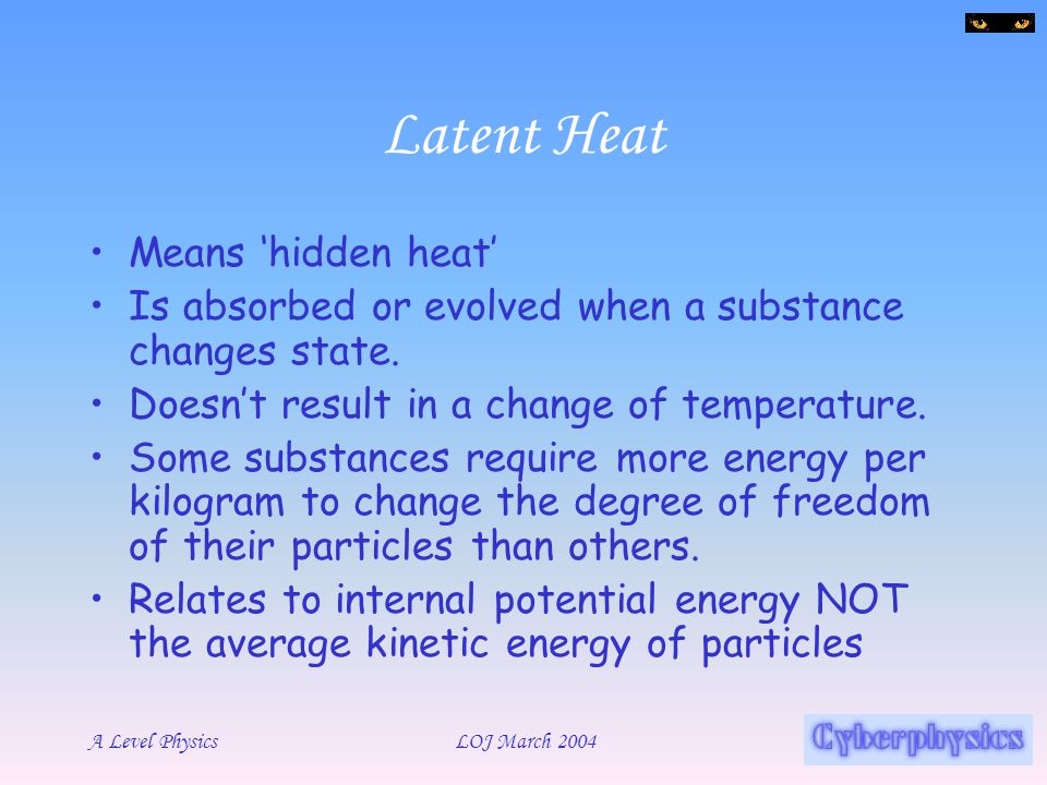 Latent Heat Means 'hidden heat'