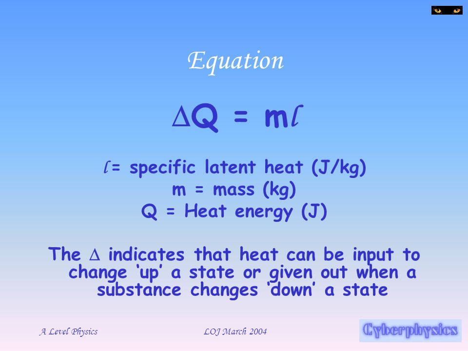 l = specific latent heat (J/kg)