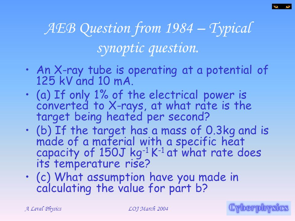 AEB Question from 1984 – Typical synoptic question.