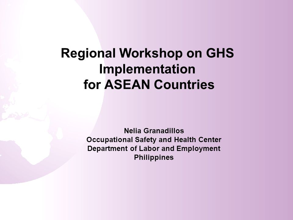 Regional Workshop on GHS Implementation for ASEAN Countries