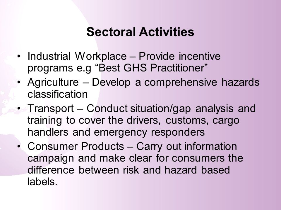Sectoral Activities Industrial Workplace – Provide incentive programs e.g Best GHS Practitioner